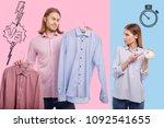 hard decision. waist up of... | Shutterstock . vector #1092541655
