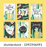 set of tropical summer cards...   Shutterstock .eps vector #1092546491