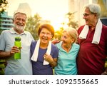 active seniors working out in... | Shutterstock . vector #1092555665