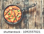 curry. chicken curry in a pan...   Shutterstock . vector #1092557021