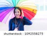 charming beautiful young woman... | Shutterstock . vector #1092558275