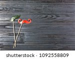 men's mustache on a stick on a... | Shutterstock . vector #1092558809