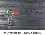 men's mustache on a stick on a... | Shutterstock . vector #1092558809