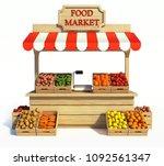 food market kiosk  farmers shop ... | Shutterstock . vector #1092561347