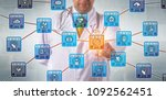 unrecognizable physician is... | Shutterstock . vector #1092562451