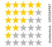 5 star rating. vector... | Shutterstock .eps vector #1092569987