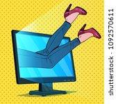 pop art business woman absorbed ... | Shutterstock .eps vector #1092570611