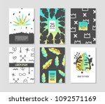 abstract tropical poster... | Shutterstock .eps vector #1092571169