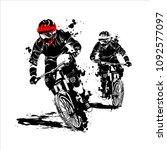 mountain bike race silhouette...   Shutterstock .eps vector #1092577097