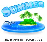sea field with tropical island  ... | Shutterstock .eps vector #109257731
