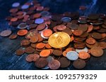 golden eos.io and mound of...   Shutterstock . vector #1092579329