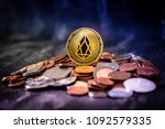 golden eos.io and mound of...   Shutterstock . vector #1092579335