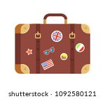 suitcase for traveling isolated ... | Shutterstock .eps vector #1092580121