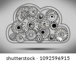cloud icon and tooth wheel... | Shutterstock . vector #1092596915