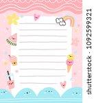 pink summer notes template | Shutterstock . vector #1092599321