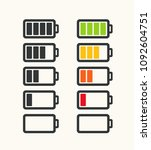icon set of batteries with... | Shutterstock .eps vector #1092604751