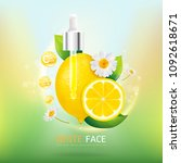 white face with lemon serum and ... | Shutterstock .eps vector #1092618671