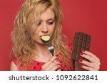 beautiful young happy woman... | Shutterstock . vector #1092622841