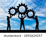 silhouette of the three men... | Shutterstock . vector #1092624257