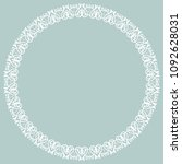 oriental round white frame with ... | Shutterstock . vector #1092628031