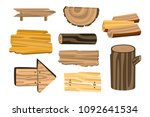set of wooden sign boards ... | Shutterstock .eps vector #1092641534