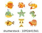 cartoon underwater world with... | Shutterstock .eps vector #1092641561