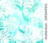 leaves on green watercolor... | Shutterstock .eps vector #1092645521