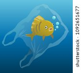 fish in the plastic bag.... | Shutterstock .eps vector #1092651677