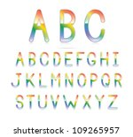a clean and glossy rainbow font.... | Shutterstock .eps vector #109265957