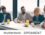 group of business people having ... | Shutterstock . vector #1092668267