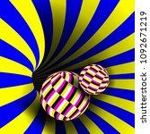 spiral vortex vector. illusion. ... | Shutterstock .eps vector #1092671219