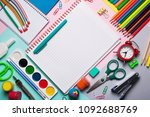 flat lay school subjects ... | Shutterstock . vector #1092688769