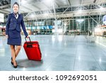 stewardess on airport and free... | Shutterstock . vector #1092692051