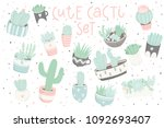 cute summer sticker set with... | Shutterstock .eps vector #1092693407