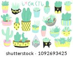 cute summer theme cactuses.... | Shutterstock .eps vector #1092693425