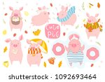 cute set with pink pigs  ... | Shutterstock .eps vector #1092693464