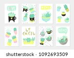 set of 6 cute ready to use gift ... | Shutterstock .eps vector #1092693509