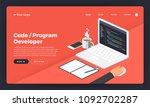 mock up design website flat... | Shutterstock .eps vector #1092702287