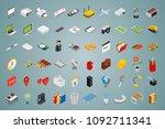 big set of isometric volumetric ... | Shutterstock . vector #1092711341
