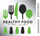 healthy food restaurant logo... | Shutterstock .eps vector #1092713417