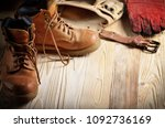 yellow leather used work boots... | Shutterstock . vector #1092736169