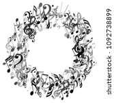 round frame of musical signs.... | Shutterstock .eps vector #1092738899