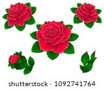 red roses. flowers and buds. a... | Shutterstock .eps vector #1092741764