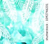 leaves on green watercolor... | Shutterstock .eps vector #1092746231