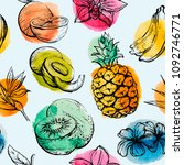 seamless pattern with tropical... | Shutterstock .eps vector #1092746771