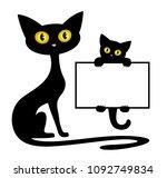 frame with black kitten and cat.... | Shutterstock .eps vector #1092749834