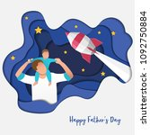 son on his father shoulders on... | Shutterstock .eps vector #1092750884