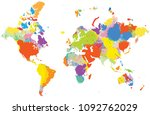 colorful world map with vector... | Shutterstock .eps vector #1092762029