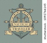 vector banner with a ship... | Shutterstock .eps vector #1092766145