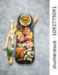 italian antipasti wine snacks... | Shutterstock . vector #1092775091